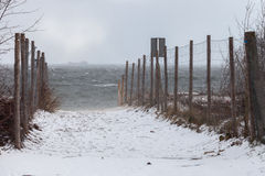 Beach in a blizzard Royalty Free Stock Images