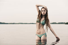 Beach blond girl Royalty Free Stock Photography