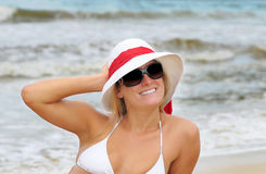Beach blonde with hat Royalty Free Stock Photo