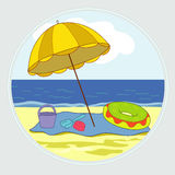 On the beach. Blue bright sea and yellow sand Vector Illustration
