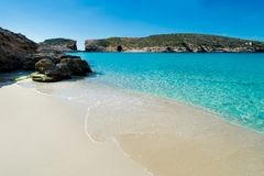 Beach at blue lagoon malta. Wonderful place like in dream in blue lagoon malta island and gozo Royalty Free Stock Image