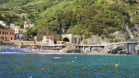 Beach, blue sea and mountains in Monterosso al Mare
