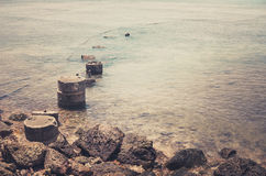 Beach and blue sea vintage Royalty Free Stock Photography