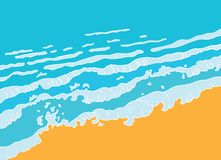 Beach and blue sea wave, vector Royalty Free Stock Photography