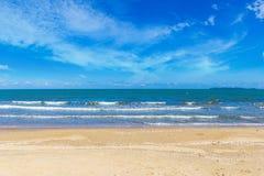 Beach and blue sky on daylight Stock Photos