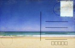 Beach and blue sky on postcard. Retro style stock illustration