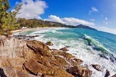 Beach with blue sky and sun Royalty Free Stock Photos