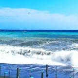 Beach, blue, white. Sea, tempest sky Royalty Free Stock Photography