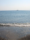 Beach with blur blue sea Kos Royalty Free Stock Images