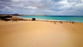 Beach on Boa Vista. Boa Vista Beach, One of the Cape Verde Islands in the Atlantic of the coast of Africa. Miles of deserted golden sandy beaches royalty free stock photography