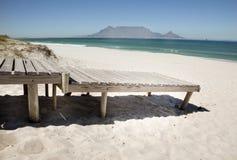 Beach Boardwalk. Boardwalk onto beach at Bloubergstrand beach, CApe Town, South Africa Royalty Free Stock Image
