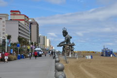 Beach and Boardwalk at Virginia Beach Stock Photo