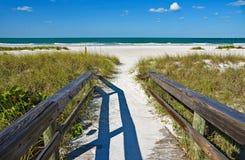 Beach Boardwalk. Wooden Beach Boardwalk leading to the white sandy Beach on Anna Maria Island royalty free stock photos
