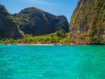 The Beach. A boat heading to Maya Bay beach in Phi Phi Lee, Thailand (from the movie The Beach Stock Photo