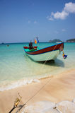 Beach with boat on Ko Tao island,thailand Stock Photos
