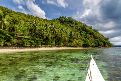 Beach with Boat and Palm Trees-Palawan,Philippines Royalty Free Stock Photo