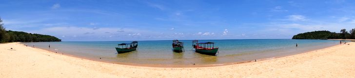 Beach and boat Panoramic Stock Photo