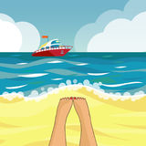 Beach and boat. The seascape. Speedboat on the horizon. Vector illustration stock illustration