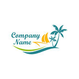 Beach boat travel holiday logo Stock Image