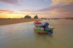 Beach, Boats, Dawn stock photo