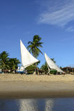 Beach with boats, Pititinga (Brazil) Royalty Free Stock Photography