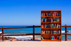 Beach. Bookcase installed by the association of neighbors on the beach of Rivera del Sol, for public use. Picture taken: July 4, 2017. Malaga province, Costa stock photos