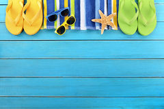 Summer background beach border flip flops sunglasses copy space Stock Photos