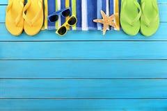 Summer background beach border flip flops sunglasses copy space Stock Photos