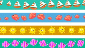 Beach borders. Set of four seaside summer vacation page border designs Royalty Free Stock Photography