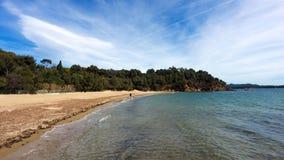 Beach in Bormes les Mimosas coast royalty free stock photo