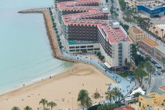Beach and boulevard of Alicante. Near harbour stock images