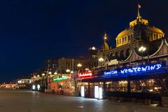 Beach boulevard with famous Kurhaus in Scheveningen, The Netherlands Stock Photos