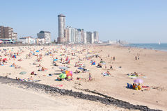 Beach and boulevard Vlissingen. Beach and boulevard and skyline  in Vlissingen Netherlands Stock Images