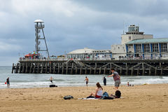 On the Beach by Bournemouth Pier Stock Images