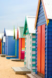 Beach Boxes on Brighton Beach. Brightly Coloured Beach Boxes on Brighton Beach, Melbourne, Australia Stock Image