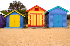 Beach Boxes on Brighton Beach Stock Photos