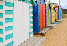 Beach Boxes on Brighton Beach Royalty Free Stock Photos