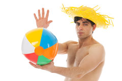 Beach boy with ball Stock Images