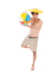 Beach boy with ball Royalty Free Stock Images