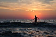 Beach, Boy, Evening, Excitement Stock Image