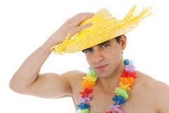 Beach boy with straw hat Stock Images