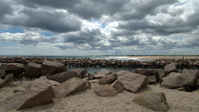 Beach Breachway in early summer with clouds Royalty Free Stock Photos