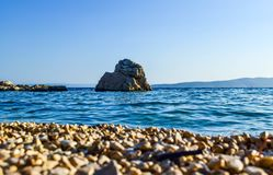 Beach in Brela, Croatia. Beach in the resort town of Brela, Makarska Riviera, Croatia royalty free stock image