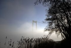 Beach, bridge and fog Royalty Free Stock Image