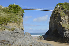 Beach and bridge at Newquay, Cornwall, England Stock Photography