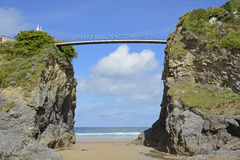 Beach and bridge at Newquay, Cornwall, England Royalty Free Stock Photos