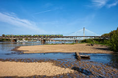 Beach and Bridges on Vistula River in Warsaw Royalty Free Stock Image