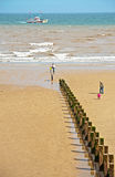 Beach at Bridlington East Yorkshire. The beach at  Bridlington East Yorkshire with the Yorkshire Belle returning from a trip with holiday makers on 5th  August Stock Photo