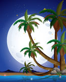 A beach with a bright fullmoon Stock Photo