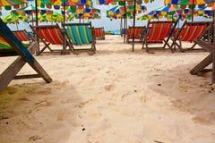 Beach with bright  umbrellas ,Phuket Thailand Stock Photo